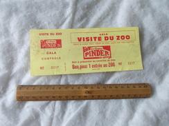 Ticket Visite Du Zoo Cirque Pinder Jean Richard - Biglietti D'ingresso