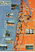 Départements Gironde 33 Landes 40 Carte Géographique Map Côte D'Argent Route Des Lacs Soulac Bordeaux Arcachon - France