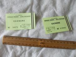 Tickets Exonéré Cirque Pinder Jean Richard - Biglietti D'ingresso