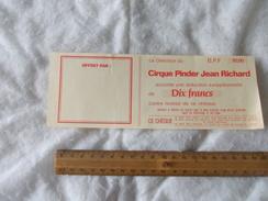 Ticket Réduction Cirque Pinder Jean Richard - Biglietti D'ingresso