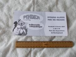 Invitation Cirque Pinder 2 Février 2001 La Nouvelle République - Biglietti D'ingresso