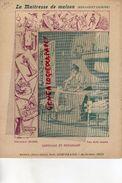 PROTEGE CAHIER-IMPRIMERIE DUCOURTIEUX LIMOGES-MAITRESSE DE MAISON-EMPESAGE REPASSAGE-CUISINE -CHARIER SAUMUR - Buvards, Protège-cahiers Illustrés