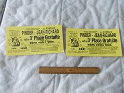 3eme Place Gratuite Au Cirque Pinder Jean Richard Tournée 1995 1996 - Biglietti D'ingresso