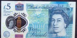 UK Great Britain 5 Pounds 2015 UNC P- 394 Polymer - 1952-… : Elizabeth II