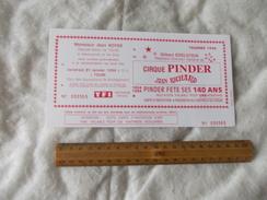 Invitation Au Cirque Pinder Jean Richard Tournée 1994 Tours - Biglietti D'ingresso