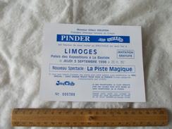 Invitation Au Cirque Pinder Jean Richard Limoges 3 Septembre 1998 - Biglietti D'ingresso