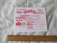 Invitation Au Cirque Pinder Jean Richard Nanterre 29 Novembre 2003 - Biglietti D'ingresso