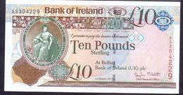 UK Northem Ireland 10 Pounds 2013 AUNC P- 87 Bank Of Ireland - RARE - Irlanda-Nord