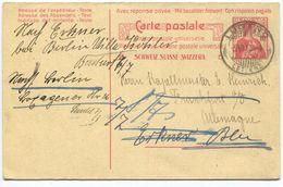1753 - 10 Rp. Helvetia Doppelpostkarte Nach Deutschland Mit Weiterleitung - Ganzsachen