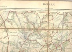 ROEULX - Carte Topographique Militaire Toilée En Couleurs De 1893  , XL/VI  - 1 /20.000 (b223) - Topographical Maps
