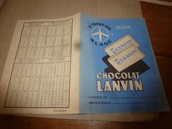 """1945 Protège Cahier """"L'oiseau Blanc à Dijon). CHOCOLAT LANVIN Avec Table Multiplication - Chocolat"""