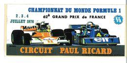 AUTOCOLLANT AUTOMOBILE 62e GRAND PRIX DE FRANCE 1976 CIRCUIT PAUL RICARD FORMULE 1 - Stickers