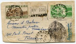 TUNISIE EMISSION COLONIES GENERALES UTILISEE PUIS REFUSEE EN TUNISIE SUR LETTRE RECOMMANDEE DE 1943 - Tunisie (1888-1955)