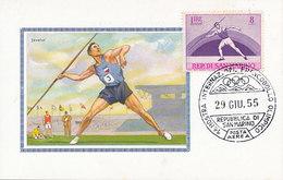 D32147 CARTE MAXIMUM CARD 1955 SAN MARINO - JAVELIN ATHLETICS CP ORIGINAL - Athletics