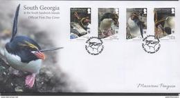 SOUTH GEORGIA , 2017, MNH, WWF, PENGUINS, 4v ON LOCAL FDC - W.W.F.