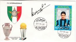 M144 Calcio Soccer Football FC Internazionale ANGELO DOMENGHINI Autograph Signature 1968 Ajman FDC - Clubs Mythiques