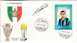 M146 Calcio Soccer Football FC Internazionale MARIO CORSO Autograph Signature 1968 Ajman FDC - Clubs Mythiques