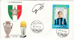 M147 Calcio Soccer Football FC Internazionale GIACINTO FACCHETTI Autograph Signature 1968 Ajman FDC - Clubs Mythiques