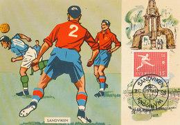 D32154 CARTE MAXIMUM CARD RR TRIPLE 1958 SWEDEN - SOCCER WORLD CHAMPIONSHIP FOTBOLL - POSTMARK SANDVIKEN CP ORIGINAL - World Cup