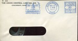 29728 U.s.a. Red Meter/freistempel/ema/ Cincinnati 1937 The Union Central Life Ins.co Seventieth Anniversary - Estados Unidos