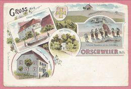 68 - GRUSS Aus ORSCHWEIER - ORSCHWIR - Litho Couleur Multivues - Gasthaus Zur Sonne - Bollenberg - Hexentanz - Voir état - France
