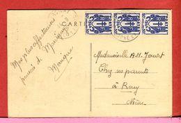 Timbre  France Chaîne Brisée  3 Timbres à 50 C Tarif 1,50 F 1945 Marcigny Prieuré 2 Scans - Postmark Collection (Covers)