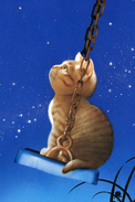 № 7.1 Makoto Muramatsu The Cat Swings On The Swing Rare New Postcard Animals - Cats