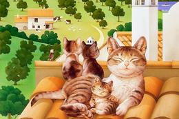 № 7.3 Makoto Muramatsu Cat Modern Rare New Postcard New Animals Family Of Cats - Cats