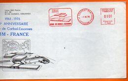 91 COUDRAY MONTCEAUX IBM 1976 Lettre Entière N° EMA  HH 901 - Freistempel
