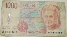 BANCONOTA   - ITALIA - 1000 LIRE  – MONTESSORI  – SERIE BC - (M) - [ 2] 1946-… : Républic