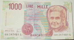 BANCONOTA   - ITALIA - 1000 LIRE  – MONTESSORI  – SERIE UH - (N) - [ 2] 1946-… : Républic