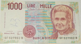 BANCONOTA   - ITALIA - 1000 LIRE  – MONTESSORI  – SERIE GF – 03/10/1990 - (P) - [ 2] 1946-… : Républic
