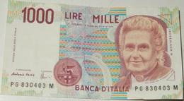 BANCONOTA   - ITALIA - 1000 LIRE  – MONTESSORI  – SERIE PG – 03/10/1990 - (Q) - [ 2] 1946-… : République
