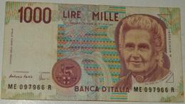 BANCONOTA   - ITALIA - 1000 LIRE  – MONTESSORI  – SERIE ME – 03/10/1990 - (R) - [ 2] 1946-… : Républic