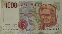 BANCONOTA   - ITALIA - 1000 LIRE  – MONTESSORI  – SERIE LF – 03/10/1990 - (S) - [ 2] 1946-… : Républic