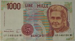BANCONOTA   - ITALIA - 1000 LIRE  – MONTESSORI  – SERIE LF – 03/10/1990 - (S) - [ 2] 1946-… : République