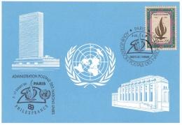 United Nations Card Paris 1989 Philexfrance  (T19-32) - Briefmarkenausstellungen