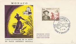 FDC FRÉDÉRIC MISTRAL - Poète - MONACO 3.12.64 - Music