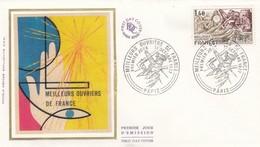 FRANCE - FDC SOIE MEILLEURS OUVRIERS DE FRANCE - CACHET ROND PREMIER JOUR 1 OCTOBRE 1977 PARIS /1 - FDC