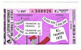 Billet Loterie Belgique, Tranche Du Travail  1972 - Billets De Loterie