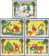 Turks- Und Caicos-Inseln 712-716 (kompl.Ausg.) Postfrisch 1984 Weihnachten: Walt-Disney-Figuren - Turks And Caicos