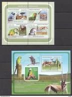 S264 2008 GUINE-BISSAU FAUNA BIRDS ANIMALS GAZELAS E PAPAGAIOS PARROTS KB+BL MNH - Perroquets & Tropicaux