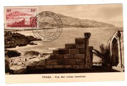 CARTE MAXIMUM - ALGERIE - Bimillénaire De Tipasa(1955) - Cartoline Maximum