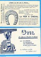 """BUVARDS-SAVON De Marseille  """"FER A CHEVAL"""" Poudre à Laver""""UTIL""""-lot De 2-bel état Neuf Dos Blanc Impec Années 50-60 - Wash & Clean"""
