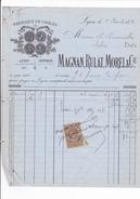 ANNEE 1884 / LYON / ROUBAIX / MAGNANT RULAT MOREL / FABRIQUE DE CHALES / TIMBRE QUITTANCE - Textile & Vestimentaire