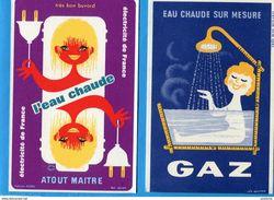 BUVARDS-Gaz Et Electricité-lot De 4 Différents-bel état Neuf Dos Blanc Impe Années 50-60 - Electricity & Gas