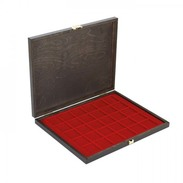 Lindner S2491-2715E LINDNER Authentic Wood Case CARUS-1 With One Dark Red Insert For 30 Coins/coin Capsules Up To Ø 38 - Supplies And Equipment