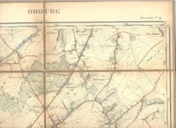 OBOURG - Carte Topographique Militaire Toilée En Couleurs De 1890  , XLVI - 1 /20.000 (b223) - Topographical Maps