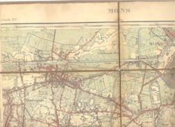 MONS - Carte Topographique Militaire Toilée En Couleurs De 1901  , XLV - 1 /20.000 (b223) - Topographical Maps