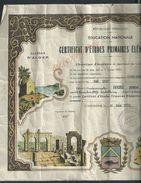 ANCIEN DIPLOME ILLUSTRÉE ÉTUDE PRIMAIRE ÉLÉMENTAIRE 1939 ALGER CONSTANTINE : - Diplômes & Bulletins Scolaires